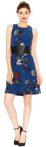 Kensie Sleeveless Floral Print Faux Leather Waist Back Zipper Scoop Neck Dress