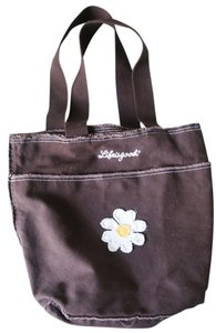 Life is Good Canvas Embroidered Floral Summer Tote in brown