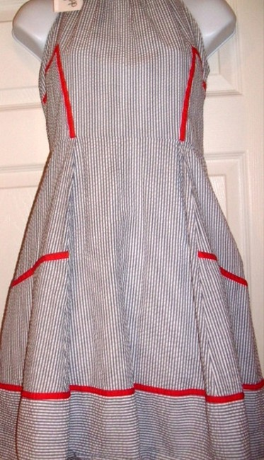 Jessica Simpson Pin Striped Halter Mid-length Short Casual Dress Size 8 (M) Jessica Simpson Pin Striped Halter Mid-length Short Casual Dress Size 8 (M) Image 3