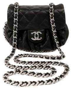 Chanel M/l Quilted Leather Gold Cross Body Bag
