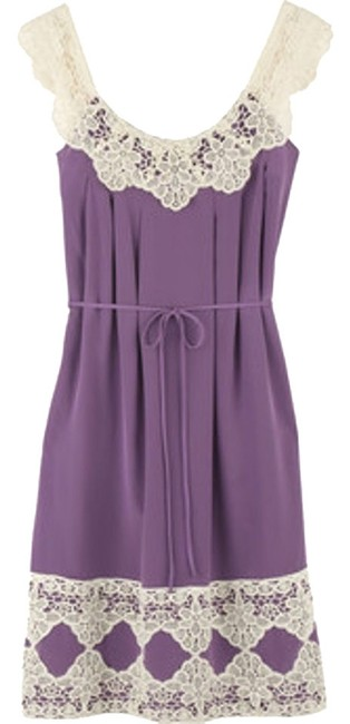 Milly Lavender Silk Lace Crochet White Cream Fit Flare Fit Flare Dress