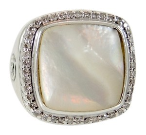 David Yurman David Yurman Sterling Silver .48tcw 15x15mm Mother of Pearl Diamond Solid Shank Albion Ring - Retail $1900