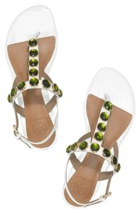 Tory Burch Falt Sandal Leather Ivory White & Green Flats
