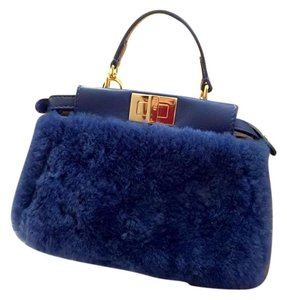Fendi Micro Peekaboo Shearling Cross Body Bag