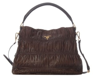 Prada Pr.h0703.04 Ruched Brown Leather Hobo Bag