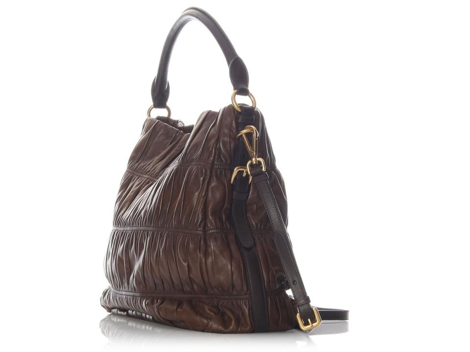 452af0102289 Prada Ruched Brown Leather Hobo Bag - Tradesy