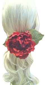 Other Red Peony Flower Ponytail Holder