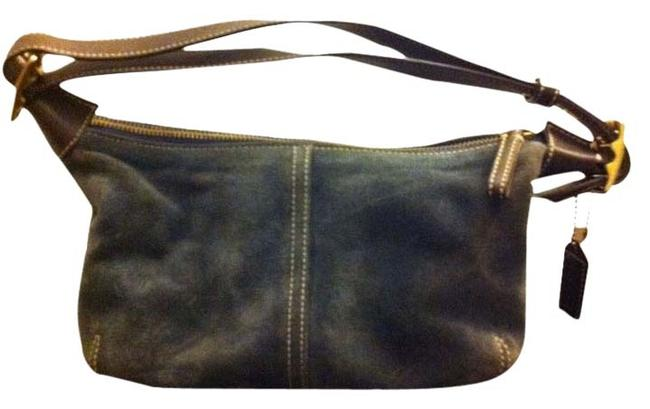 Item - Blue Suede and Leather Baguette