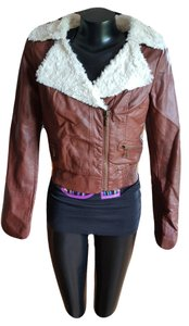 Sugarfly By Women's Faux Faux Fur Collar Brown Leather Jacket