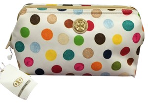 Tory Burch New Tory Burch Printed Nylon Large Molded Cosmetic Case Multi Dot Multicolor White