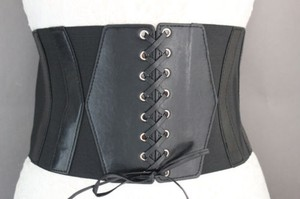 Other Women Black Elastic Fashion Wide Corset Belt Hip High Waist Faux Leather Hot