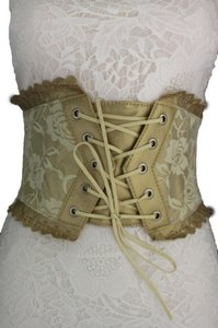Women Gold Lace Flower Corset Wide High Wiast Elastic Fabric Fashion Belt