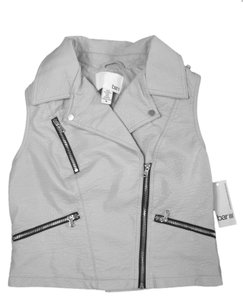 Bar III Faux Leather Zippers Soft Vest