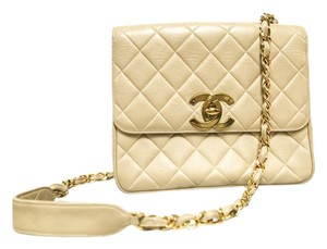 Chanel Vintage Quilted Gold Chain Leather Shoulder Bag