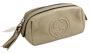 Gucci NEW GUCCI PEBBLED LEATHER SOHO COSMETIC POUCH/CLUTCH
