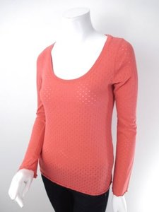 Eloise Anthropologie Sheer Polka Dot Long Sleeve T Shirt Orange