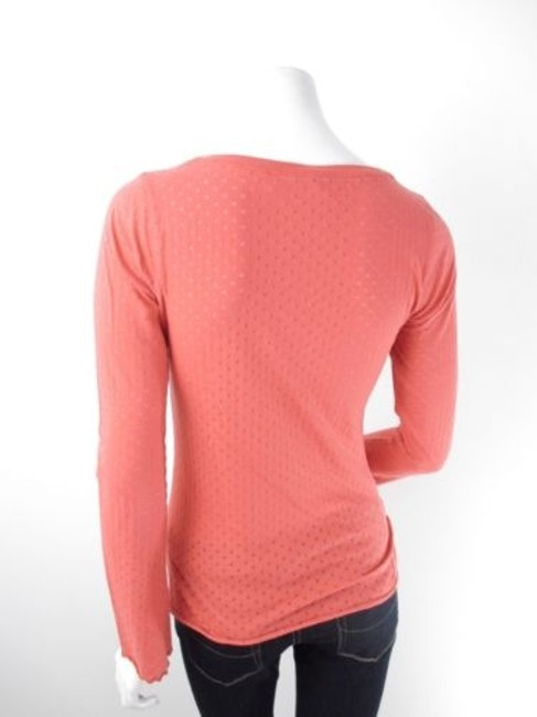 Eloise Anthropologie Sheer Polka Dot Long Sleeve T Shirt Orange Image 1
