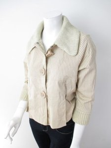 Anthropologie Luluvia Striped Knit Sweater Trim Cream, Brown Jacket