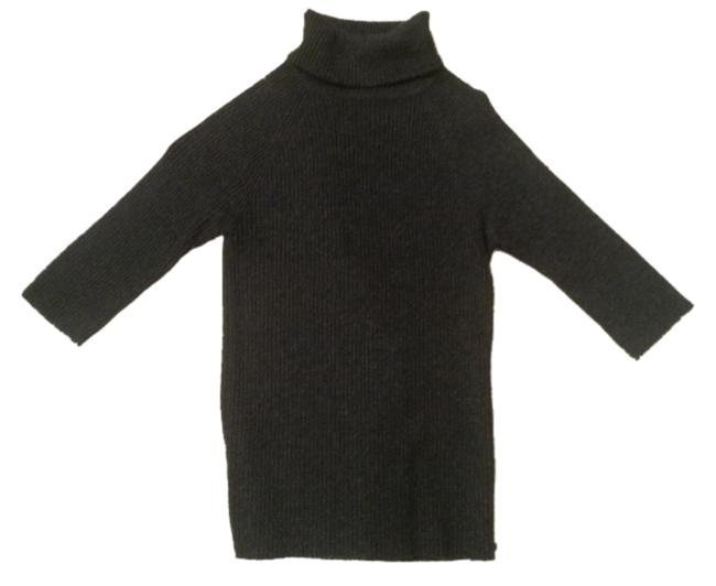 Item - Cashmere Ribbed Short-sleeve Charcoal Gray Sweater