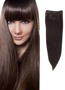 MyLuxury1st Clip In Remy Human Hair Extensions 70g 7 Pieces Chocolate Brown