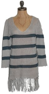 Anthropologie Fringe Hem Striped Willow & Clay Sweater