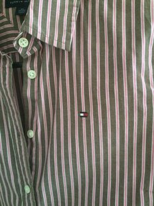 Tommy Hilfiger Pinstripe Striped Button Down Shirt Brown/pink
