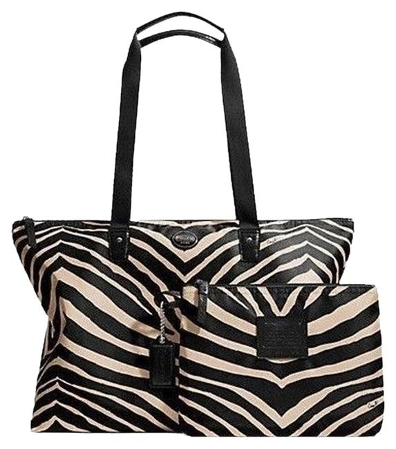 Item - Weekender with Extra Carry Piece F77526 New with Tags Black & White Zebra Print Nylon Tote