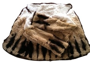 bebe Plush Genuine Rabbit Fur Casual Spring Tan/Black/Cream Jacket