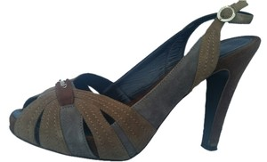 Fendi Open Toe Slingback Beige/Brown Suede Sandals
