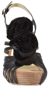 Seychelles Flowers Crepe Semi Formal Platform Black Sandals