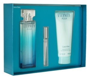 Calvin Klein Eternity Aqua by Calvin Klein Women Gift Set - 3.4 oz Eau De Parfum Spray + 3.4 oz Body Lotion + .33 oz Mini EDP Roller Ball