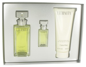 Calvin Klein Eternity by Calvin Klein Woman Gift Set - 3.4 oz Eau De Parfum Spray + 0.5 oz Mini EDP Spray + 6.7 oz Body Lotion