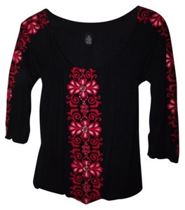 INC International Concepts Floral Stitched Floral Top Black and Red w/Beading