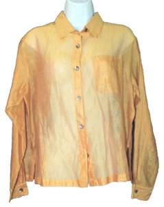 Chico's Gold Yellow Cotton Silk Button Down Shirt