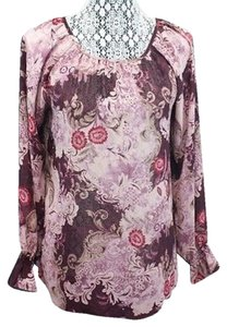 George Semi-sheer Printed Top PINK/BURGUNDY