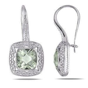 Amour Sterling Silver Green Amethyst And 110 Ct Tdw Diamond Earrings G-h