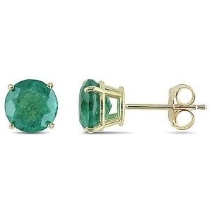 Amour Amour 10k Yellow Gold 1 58 Ct Tgw Emerald Solitaire Stud Earrings