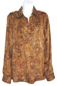 Jones New York Animal Print Blouse Button Down Shirt