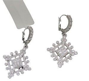 Judith Ripka NEW! JUDITH RIPKA White Sapphires 925 St Silver Deco Drop Earrings