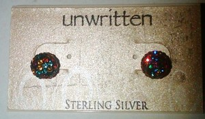 Unwritten Unwritten Sterling Silver Earrings Multicolor Shamballa Stud Earrings-8mm