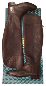 Tory Burch Over The Knee Simone Leather Chocolate Brown Boots