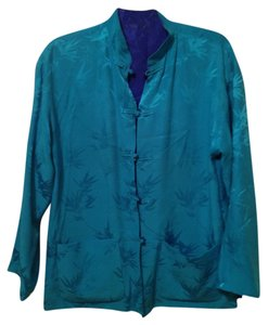 Chico's Silk Ultra-comfortable Turquoise and Royal Blue Blazer