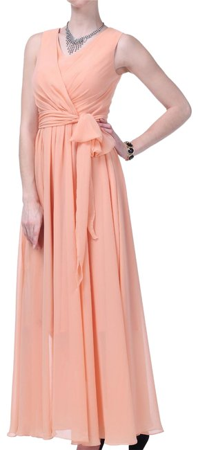 Preload https://item4.tradesy.com/images/peach-graceful-sleeveless-waist-tie-multi-layered-ch-long-formal-dress-size-4-s-97898-0-2.jpg?width=400&height=650