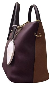 Chloé Tricolor Removable Shoulder Strap Baylee Gold Tone Hardware Tote Bordeaux Satchel in Wild Purple And tan