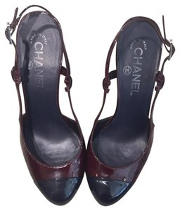 Chanel Classic Suede Patent Leather Heels Vintage Captoe Two-tone Patent Leather Slingback Couture Chic Silver Hardware Pumps