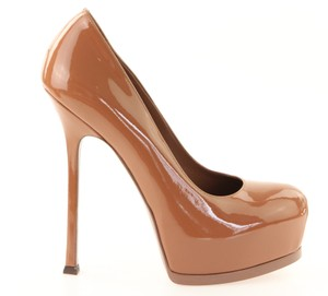 Saint Laurent Ysl Patent Patent Leather Pump Round Brown Platforms