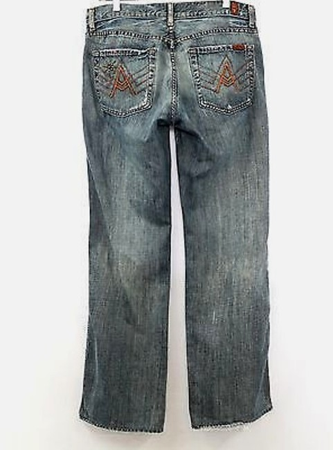 7 For All Mankind Denim Straight Leg Jeans-Medium Wash Image 2
