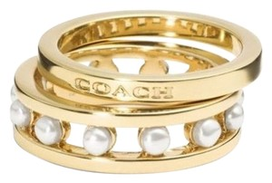 Coach NEW COACH SIGNATURE FAUX PEARL 2 RING SET
