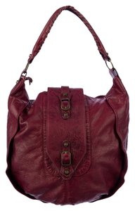 Balenciaga Chevre Discontinued Vintage Grenat Garnet Leather Rare Shrug Shoulder Tote Satchel Classic Weekend Travel Beach Cross Hobo Bag