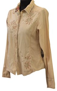 Miss Me Embroidered Top sand with brown, olive and beige embellishment